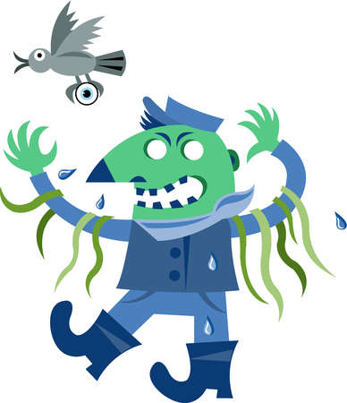A ghoulish character with seaweed hanging from his arms