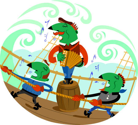 Two men singing while working on a boat and one man standing on a barrel and pla