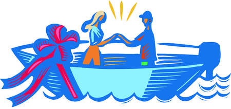 A couple holding hands on a boat with giant red bow on it
