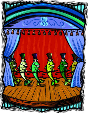 Dancing fish on stage holding canes and wearing top hats