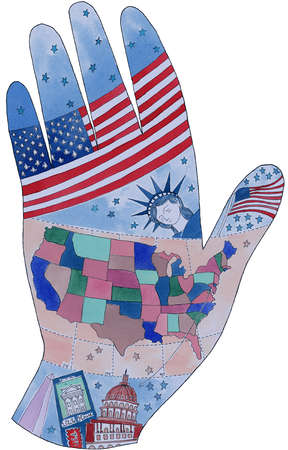 An american hand on white background
