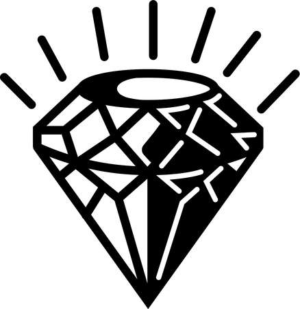 A black and white illustration of a diamond