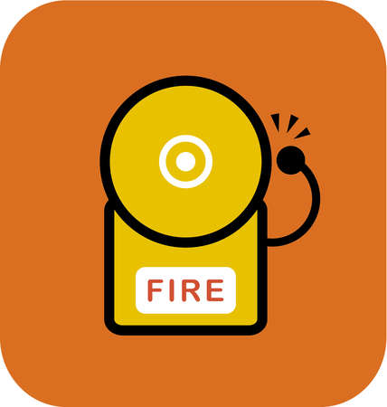 A fire alarm on orange background