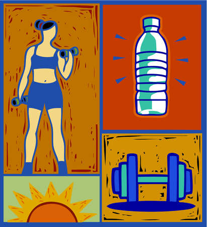 Collage of woman lifting weights