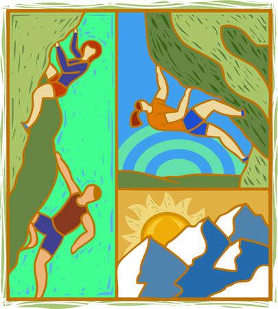 Illustration of people mountain climbing