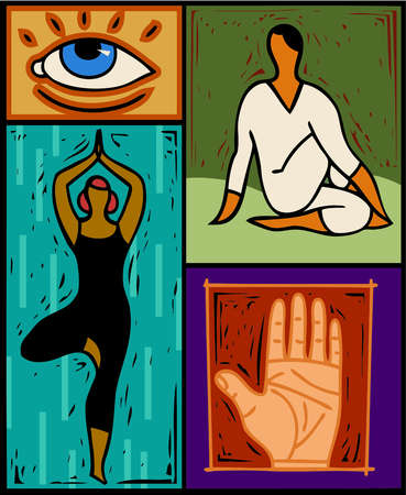 Illustration of two people doing yoga