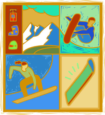 Illustration of people snowboarding