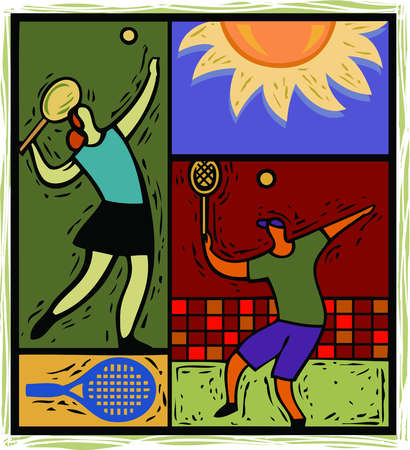 illustration of people playing tennis