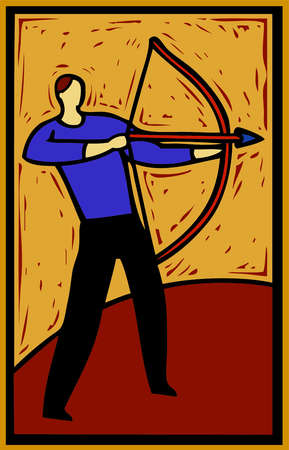 ilustration of a man using a bow and arrow