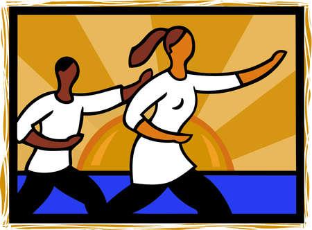 Illustration of people doing tai chi