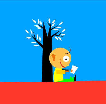 A little boy reading against the trunk of a tree