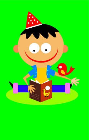 A little boy reading a book