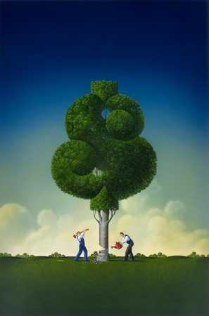 Chopping Dollar Tree Trunk