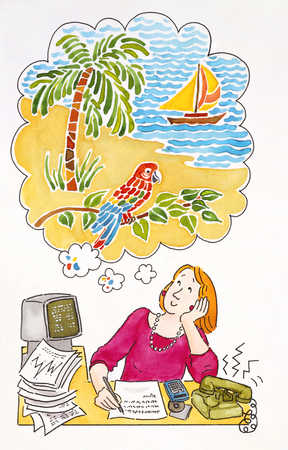 Woman daydreaming with work load