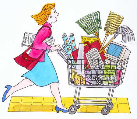 Woman pushing shopping cart, side view