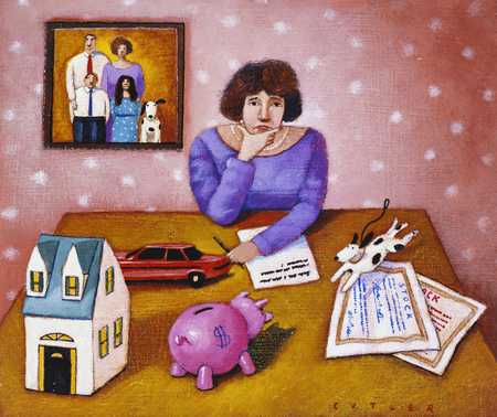 Woman Pondering Financial Assets