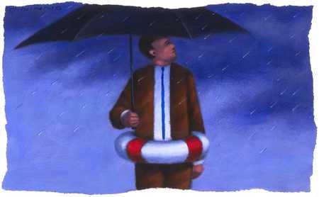 Man With Umbrella And Lifesaver