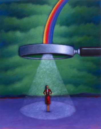 Magnifying Glass, Rainbow, Woman