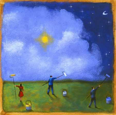 People Painting The Night Sky