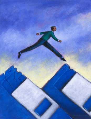 Man Stepping between Floppies