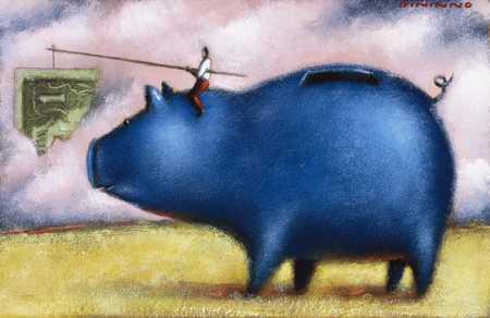 Piggy Bank And Carrot