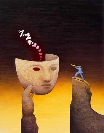Man Peering At Mask