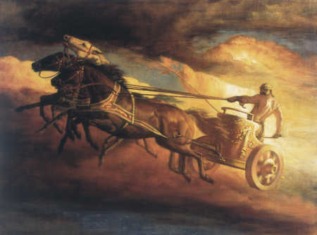 Horses Pulling Chariot In Sky
