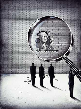 Magnifying Dollar In Wall