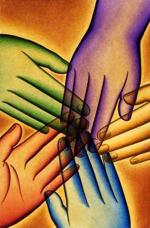 Five Multicolored Hands