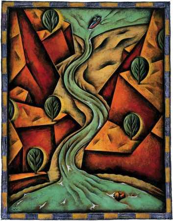 Man In Canoe Entering River