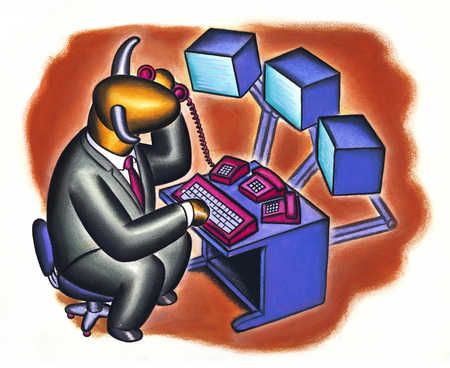 Businessman with bull's head using computer and telephone