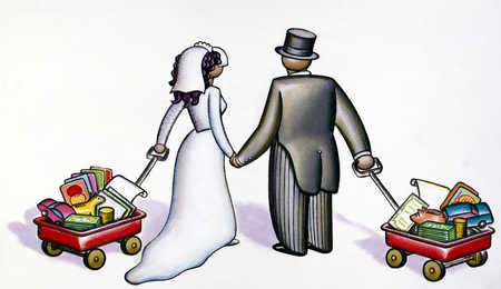 Bride and groom with personal belongings, rear view