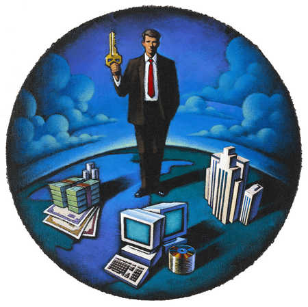 Businessman standing on globe with key