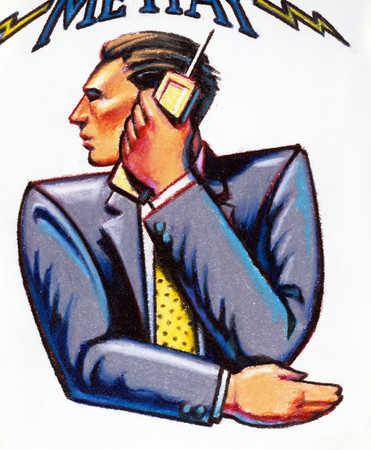 Businessman using cordless telephone, close-up