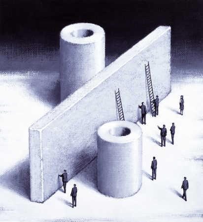Giant Percent Symbol, Businessmen