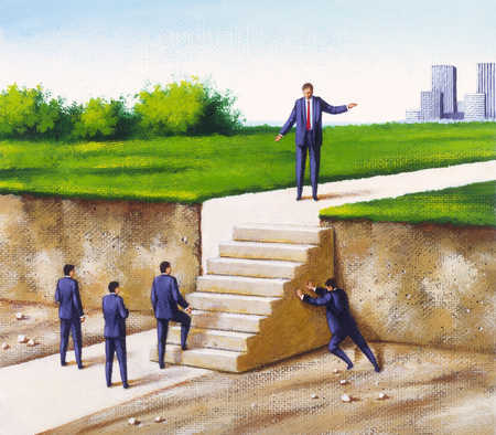 Businessmen Moving Stairs into Position