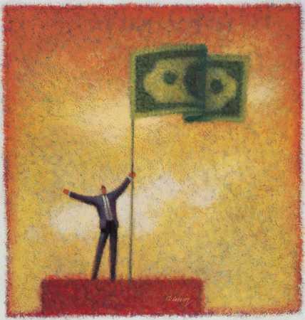 Man With Dollar Flag