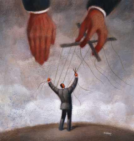 Man Cutting Puppet Strings