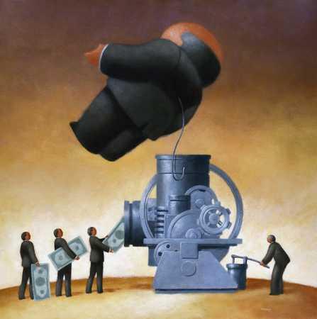 Machine Pumping $ Into Man
