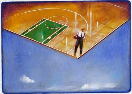 Businessman On Basketball Court