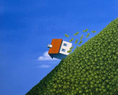 House falling down hill made of money