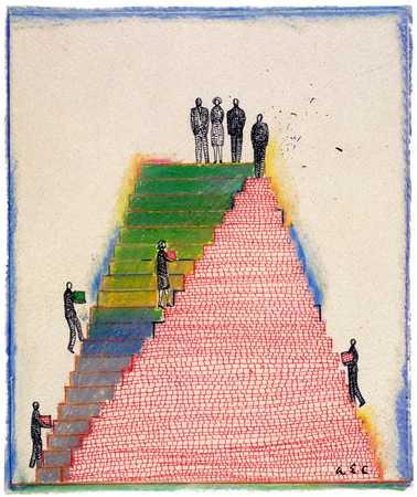 People On Stair Pyramid