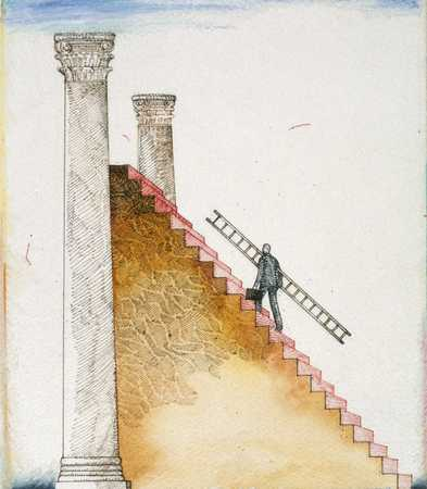 Man With Ladder On Stairs