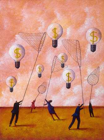 Workers netting dollar sign lightbulbs