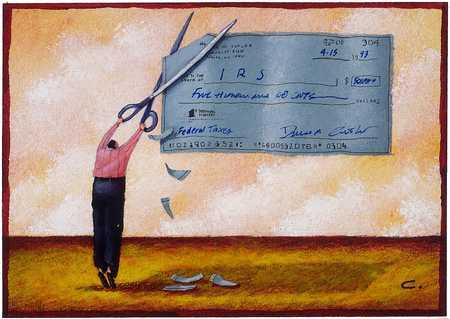 Man cutting income tax
