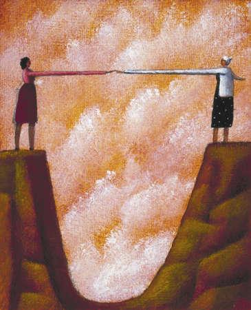 Women reaching across chasm
