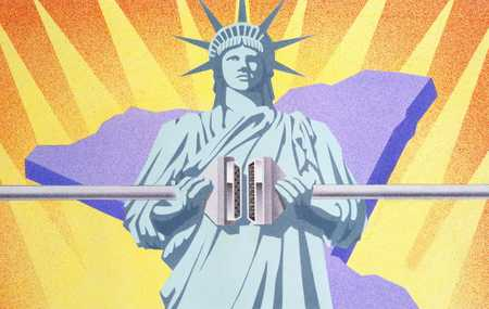 Statue Of Liberty And Cable Wire