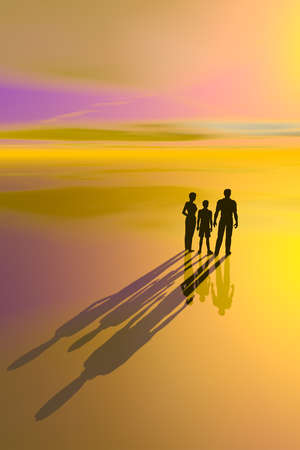 Illustration of the concept of a family unit, showing the silhouettes and shadows of a mother, father, and child.