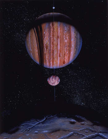 Artist's concept of an extrasolar Jovian planet. Jovian planets, like Jupiter, are larger and more gaseous than terrestrial planets, such as Earth. An extrasolar planet is a planet located outside of our solar system.
