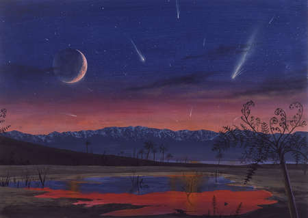 Illustration of comets over the primordial Earth.